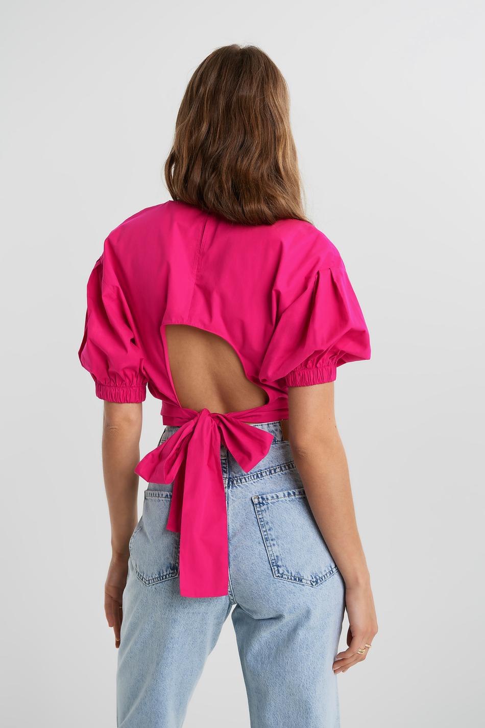 Gina Tricot JULIA OPEN BACK BLOUSE - Bluser - pink