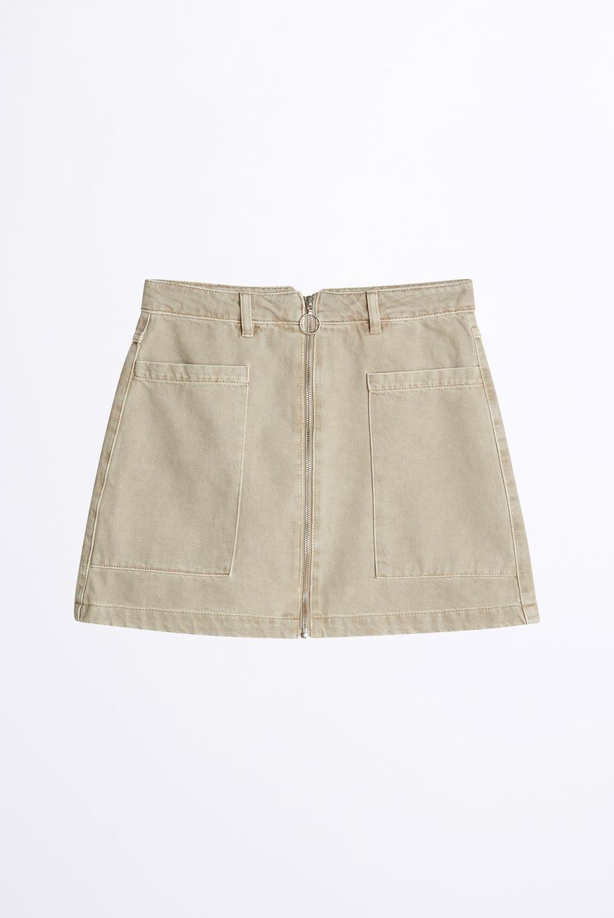 Utility zip denim skirt