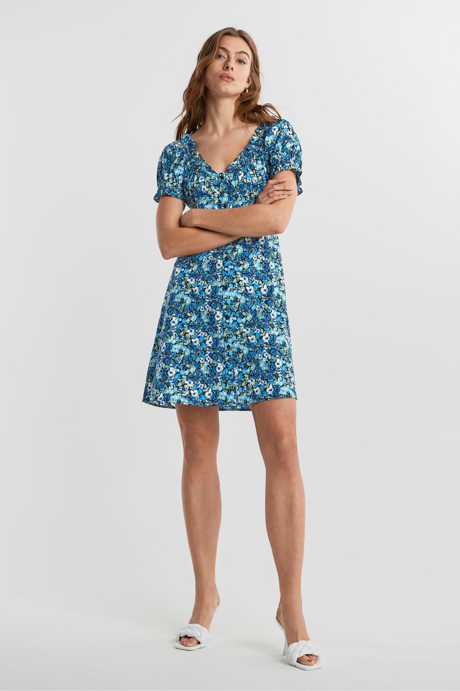 blå klänning gina tricot